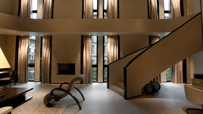 Best Fashion Designer Hotels and Suites, Lobby of Armani Hotel in Milan